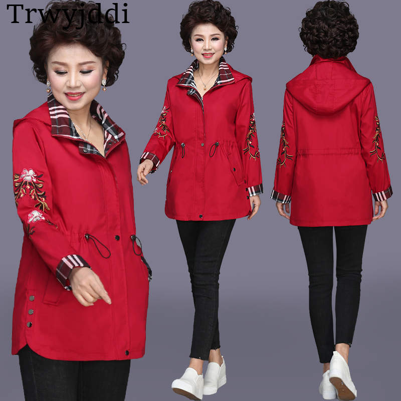 2019 Spring new middle-aged Women Clothing Large Size   Trench   Coat Autumn female casual Windbreaker Women's Embroidery Coat N465