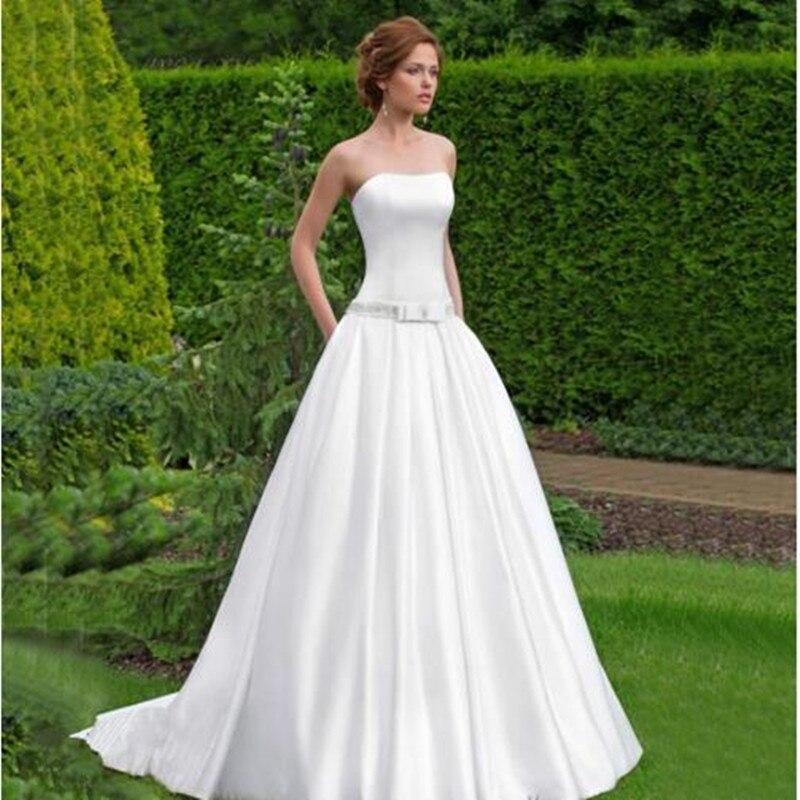 2017  White Satin A-Line Wedding dresses Plus size Sleeveless Strapless Beaded Wedding dress Robe de mariage Vestidos de novia