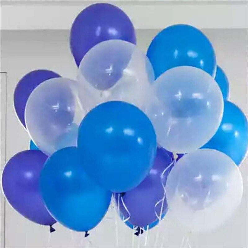 50 pcs/lot 12 pouce 2.8g Latex Hélium ballons Ronds Épais Perle bleu bleu clair transparent de mariage ballons parti décoration
