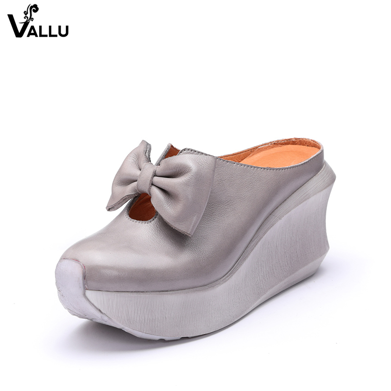 Bow-Knot Slippers Shoes For Women VALLU New Arrival Slide Sandals Original Leather Wedges Summer Platform Female Shoes concise platform and bow design slippers for women