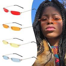 Женские маленькие узкие солнцезащитные очки с прозрачными линзами, винтажные прямоугольные солнцезащитные очки без оправы, женские мужские очки