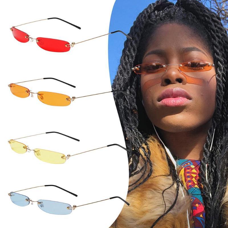 2019 Ladies Clear Lens Small Narrow Sunglasses Vintage Rimless Rectangle Sunglasses Womens Mens Eyewear
