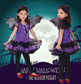 De Halloween Navidad Niños Ropa Bat Girl Purple Dress + alas + diadema Fiesta Desfile de Moda Cosplay Kids Tutu Dress