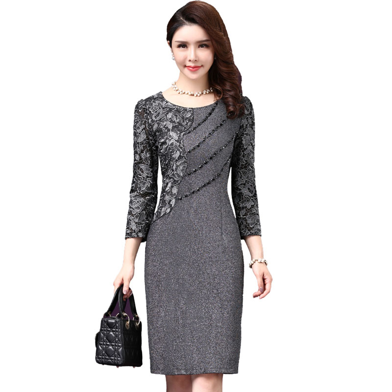 High Quality Free Shipping New  Autumn Fashion Mother Dress Medium Old Age Temperament  Women Work Wear Fashion Plus Size