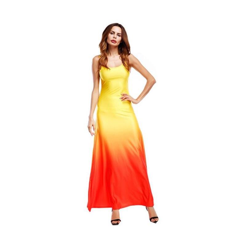 Пикантные градиент слинг длинные ботильоны Длина платье длинные большой размер без рукавов шелк красные, синие для женщин Вечеринка