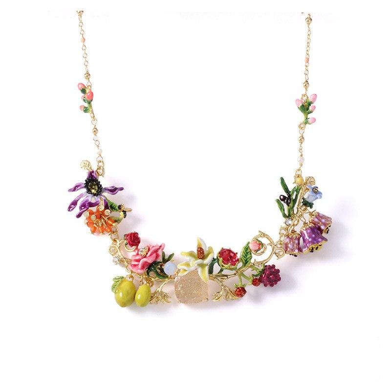 Romantic Luxury statement blooming flowers gem fruits necklaces for women enamel glaze raspberry olive flower women necklace stylish artificial gem flower hollow out necklace for women