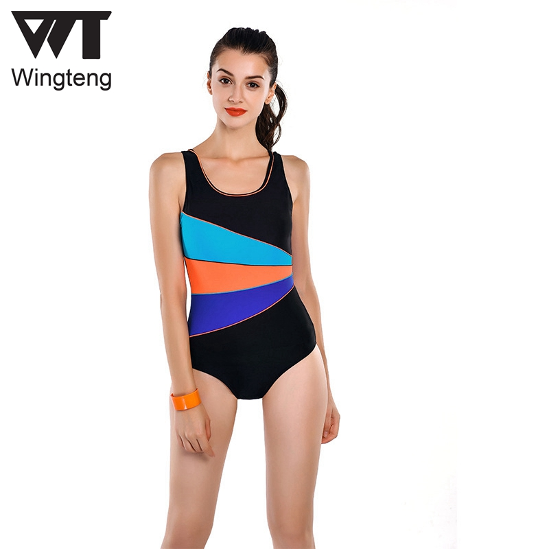 2018 Professional One Piece Swimwear Female Patchwork Fast-dry Bodysuit Training Swimsuit Sports Racing Competition Bathing suit one piece professional female racer back swimwear sports swimsuit racing competition black tight bodysuit bathing suit