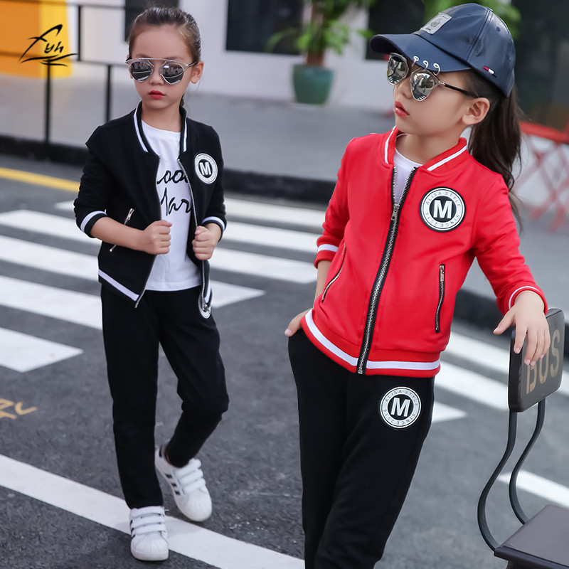 FYH Girls Clothing Set School Girls Autumn Spring Suit Baseball Set Children Long Sleeve Cotton O-neck Jacket+Pants Track Suit rmbkids spring and autumn new girls clothing set girl cotton swan print long sleeve t shirt pants trousers set children s suit