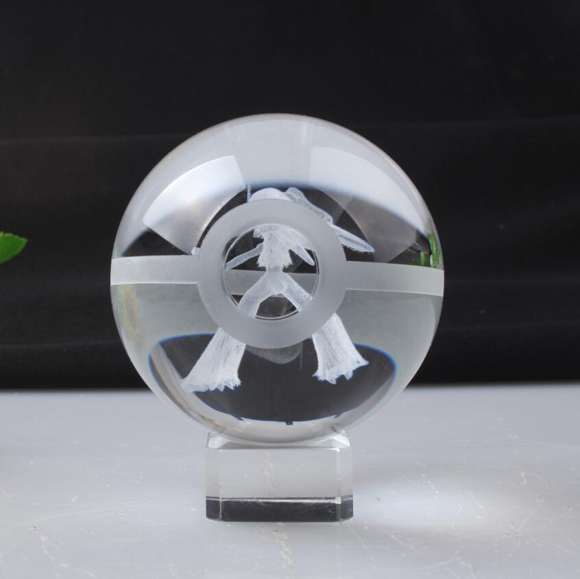 Pokemon Engraving Blaziken Round Crystal Nice Fashion Ball With Base With Gift Box