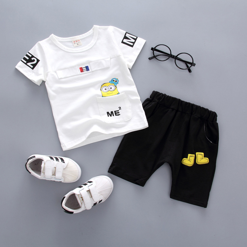 2 PCS New Toddler Infant Newborn Twins Baby Boy Girls Casual T shirt Strip Pants Outfits Pajamas Suit