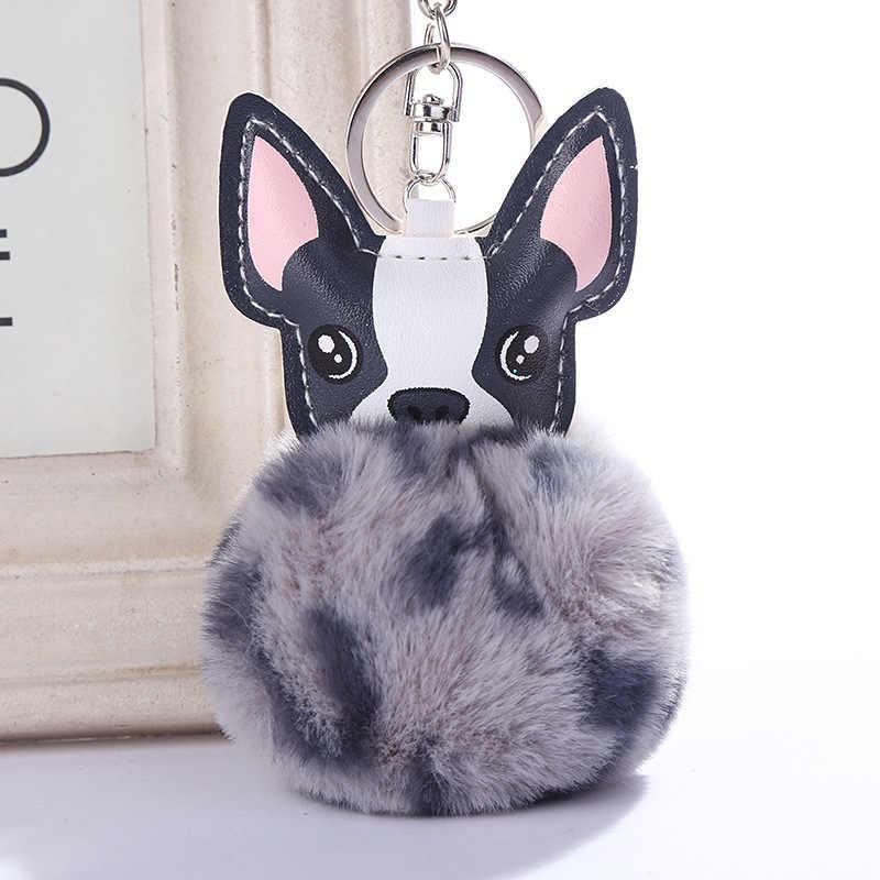 Pele De Coelho Bola Pompom fofo Animal Cão Chaveiro Chaveiro de Couro Pu Faux Rabbit Fur Bola Chaveiro Cão