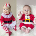 2016 Kids Christmas Clothes Xmas Santa Claus Toddlers Children Baby Boys Girls Belt Lace 2pcs Winter Outfits Clothes Set