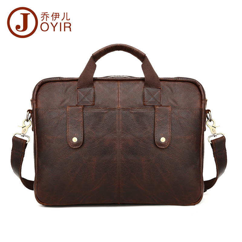 JOYIR men's briefcase crazy horse genuine leather men's business bag vintage messenger shoulder bag for male men briefcase B77