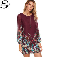 Sheinside Casual Dresses For Woman Fashion Women Office Dresses Multicolor Floral Print Long Sleeve Chiffon Dress