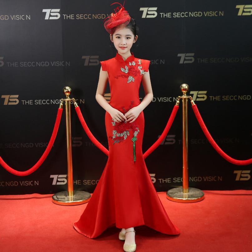 Élégant Slim enfants robe bébé fille vêtements chinois traditionnel sirène robe Vintage broderie Cheongsam enfants Vestidos Y612