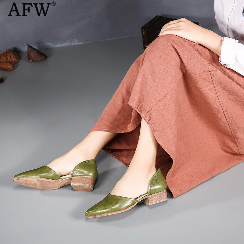 AFW Women Leather Pumps Pointed Toe 2018 Summer Green Pumps Slip On Shoes Sandal Handmade Women Genuine Leather Pump Low Heel tyawkiho genuine leather women sandals low heel white casual leather summer shoes 2018 handmade women leather sandal soft bottom