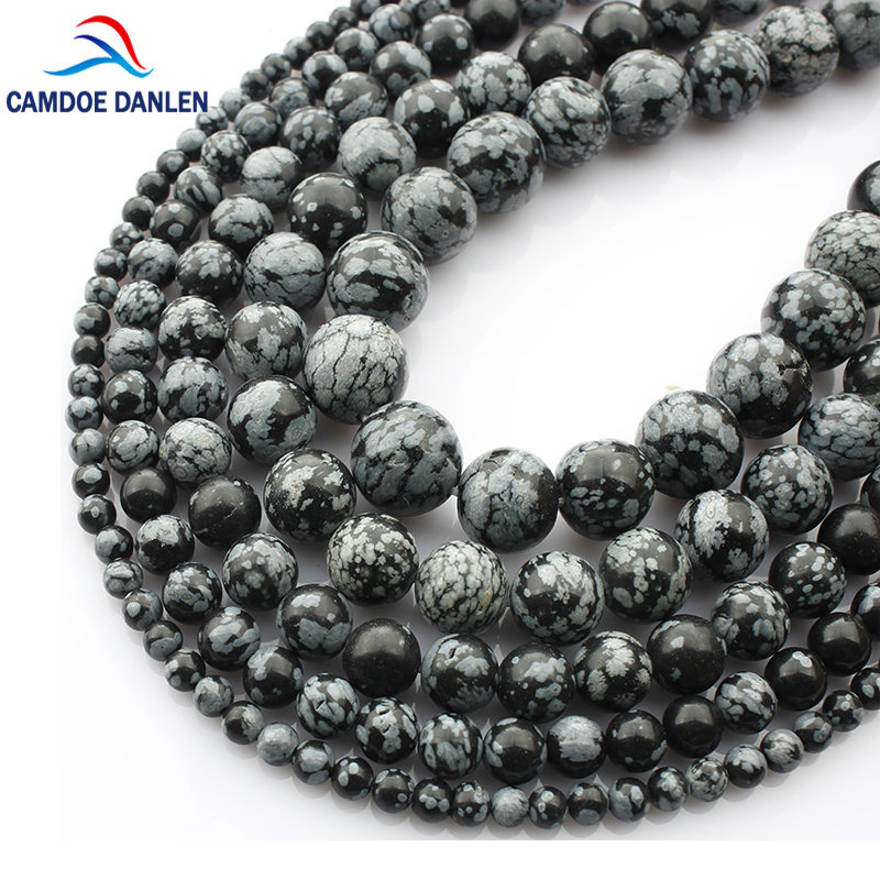 Free Shipping Snowflake Obsidian Beads Round Selectable Size 4 6 8 10mm Natural Stone Beads For Jewelry Making Diy Bracelet TR99