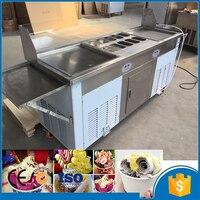 Cfr termos frete grátis pelo mar 110v duplo quadrado pan tailândia rolo fry máquina de sorvete importado compressor