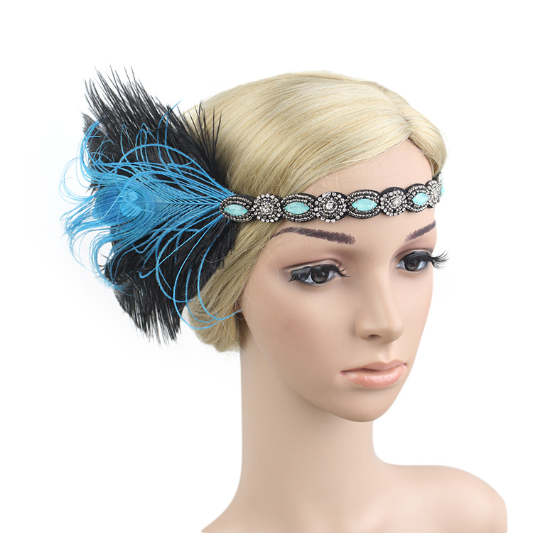 Black Rhinestone Beaded Sequin Hair Band 1920s Vintage Gatsby Party Headpiece Women Flapper Feather Headband Hair Accessories headpiece