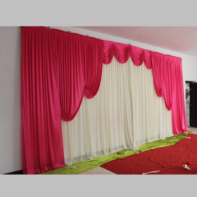 Hot Pink Wedding Backdrop Swag Only For Decoration Party Event Curtains Drape Customized Color