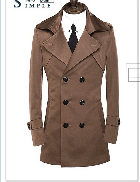 44f4d7916bf Brown Mens trench coats belt slim casual casaco masculino trench coat men  male overcoat fashion jaqueta