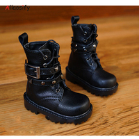 Allaosify BJD shoes 1/3 1/4 leather shoes black brown doll boots free shipping