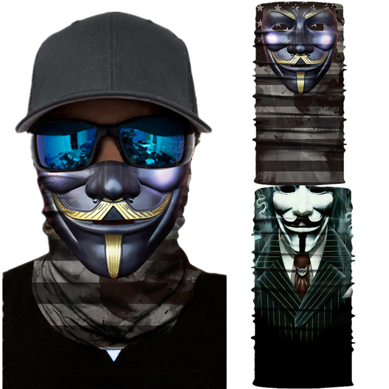 V for Vendetta Motorcycle Cycling Neck Scarf Half Face Mask Bandana Headband Cosplay Adult Masks