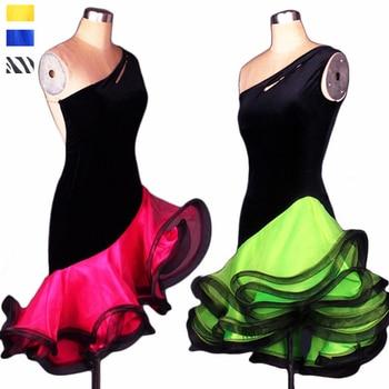 61c4a197 Adultos/niños baile latino vestido las mujeres las niñas/señora competencia Cha  Rumba Samba bailar Tango práctica rendimiento desgaste DQ3031