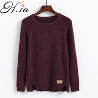 H SA Women Winter Warm Pullovers Split Long Sleeve Jumpers Solid Color Women Sweaters And Pullovers