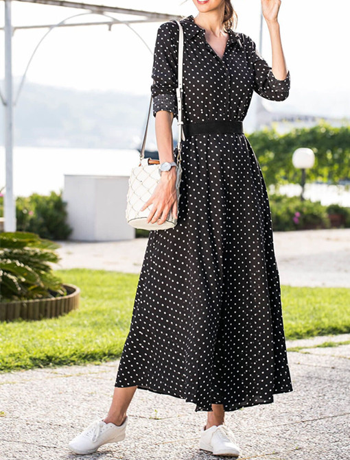 Spring Women Turn-down Collar Long Sleeve Dress Dot Prints Single-breasted Waistband Long Sundress Holiday Casual Female Clothes 7