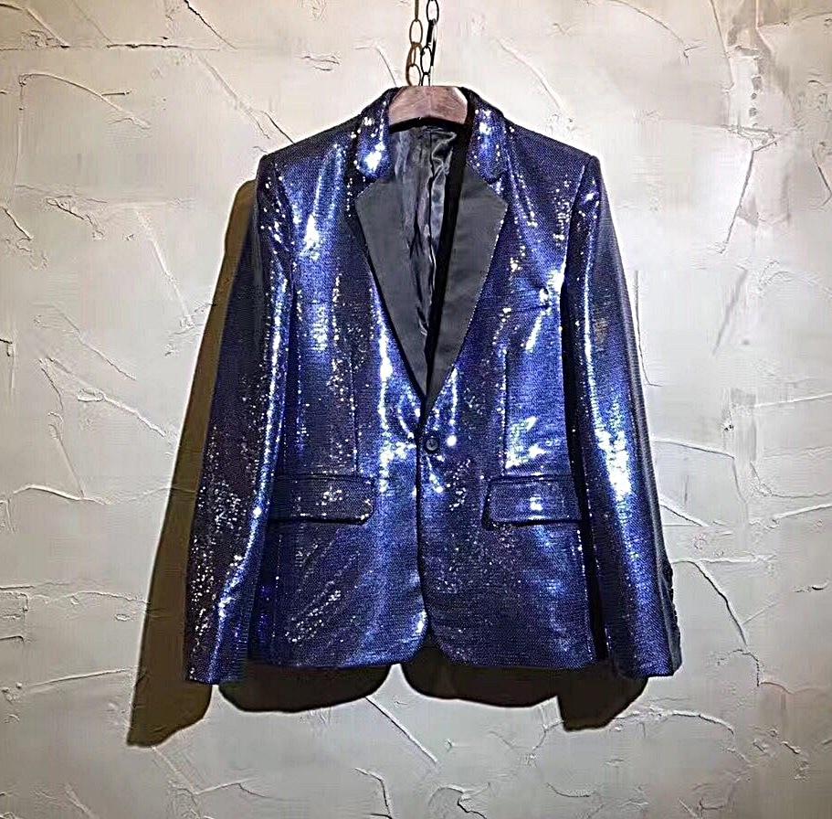Male Singer Dj Nightclub Guest Host Hair Stylist Model Treasure Blue Color Colorful Blazer Suit Men Fashion Costumes Suits S-5XL