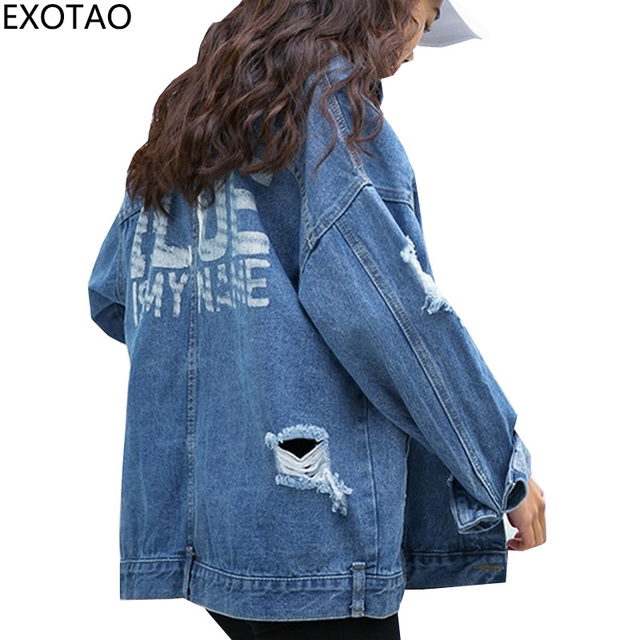 66539454654d7 EXOTAO Back Letter Print Women Denim Jackets Ripped Jeans Jaqueta Loose  Oversized Coats New Warm Casacos Long Sleeve Casacos