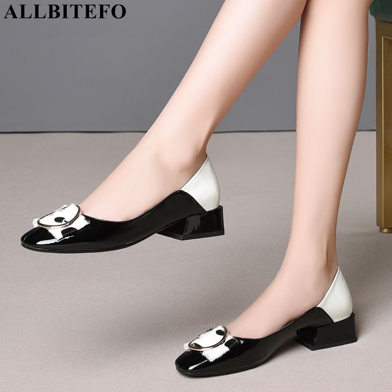 ALLBITEFO fashion brand genuine leather low heeled comfortable women shoes high quality mixed colors office ladies