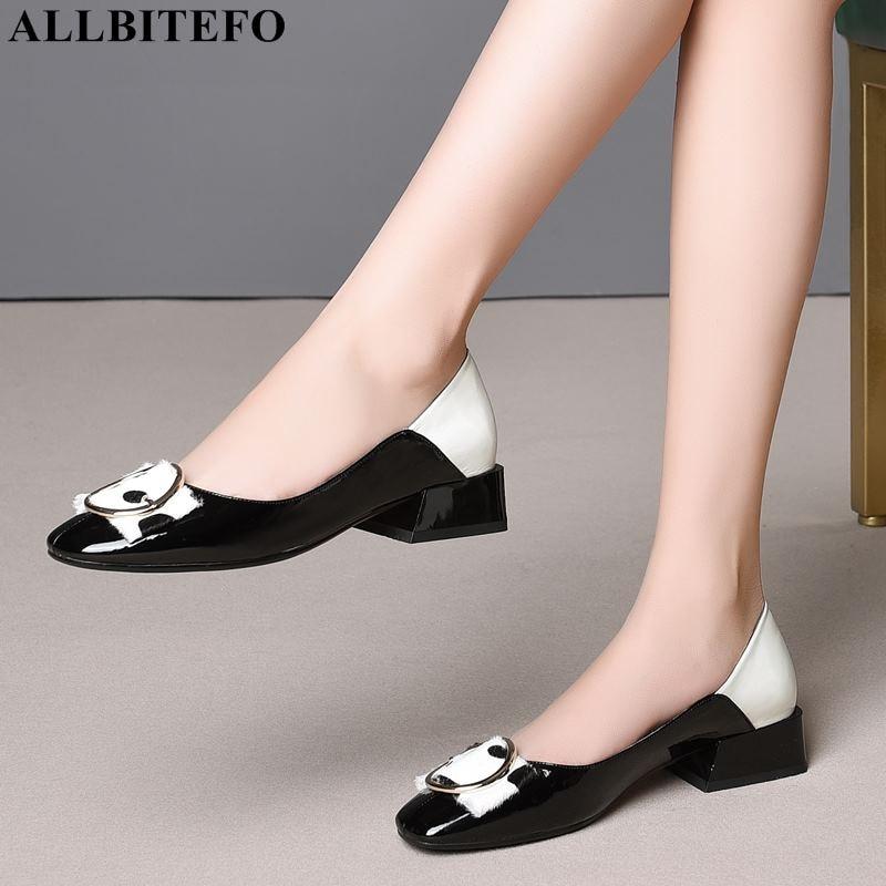 ALLBITEFO di modo genuino di marca in pelle a basso tacco alto delle donne comode scarpe di alta qualità di colori misti signore ufficio scarpe-in Pumps da donna da Scarpe su  Gruppo 1