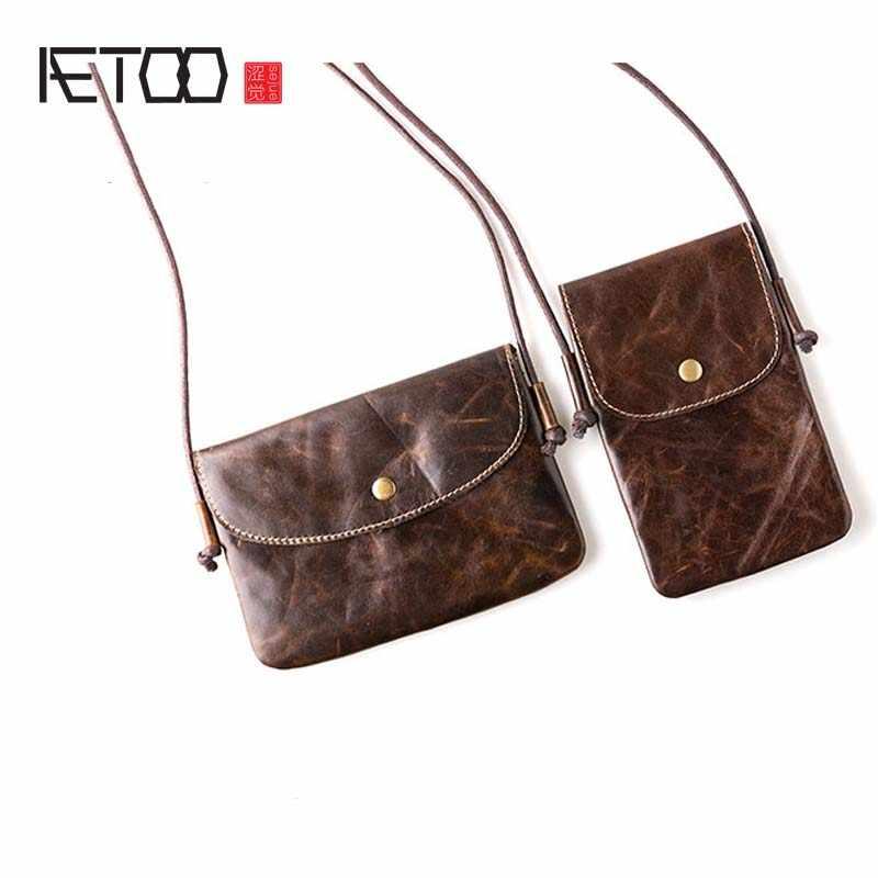 2120b46fc920 2017 Новый летний Ретро ручной работы кожаный первый слой кожи мини-сумка  маленькая сумка через