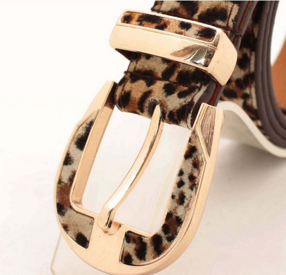 Pigskin belts for women strap leopard print pin buckle PU leather Woman waist belts female cinto feminino couro Free shipping