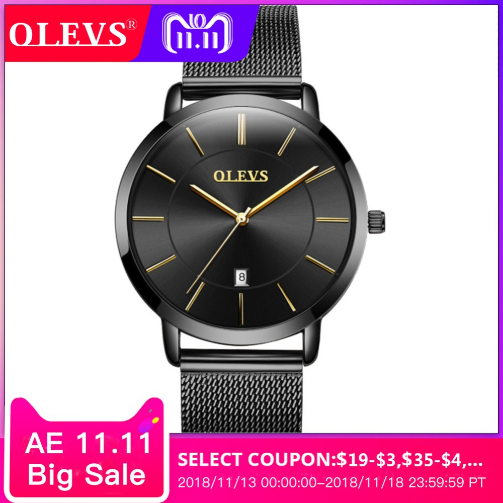 OLEVS Men watch Ultra thin simple Clock Milan Steel Strip Japanese quartz movement Wrist watch relogio masculino erkek kol saati 2018 fashion watch men retro design leather band analog alloy quartz wrist watch erkek kol saati