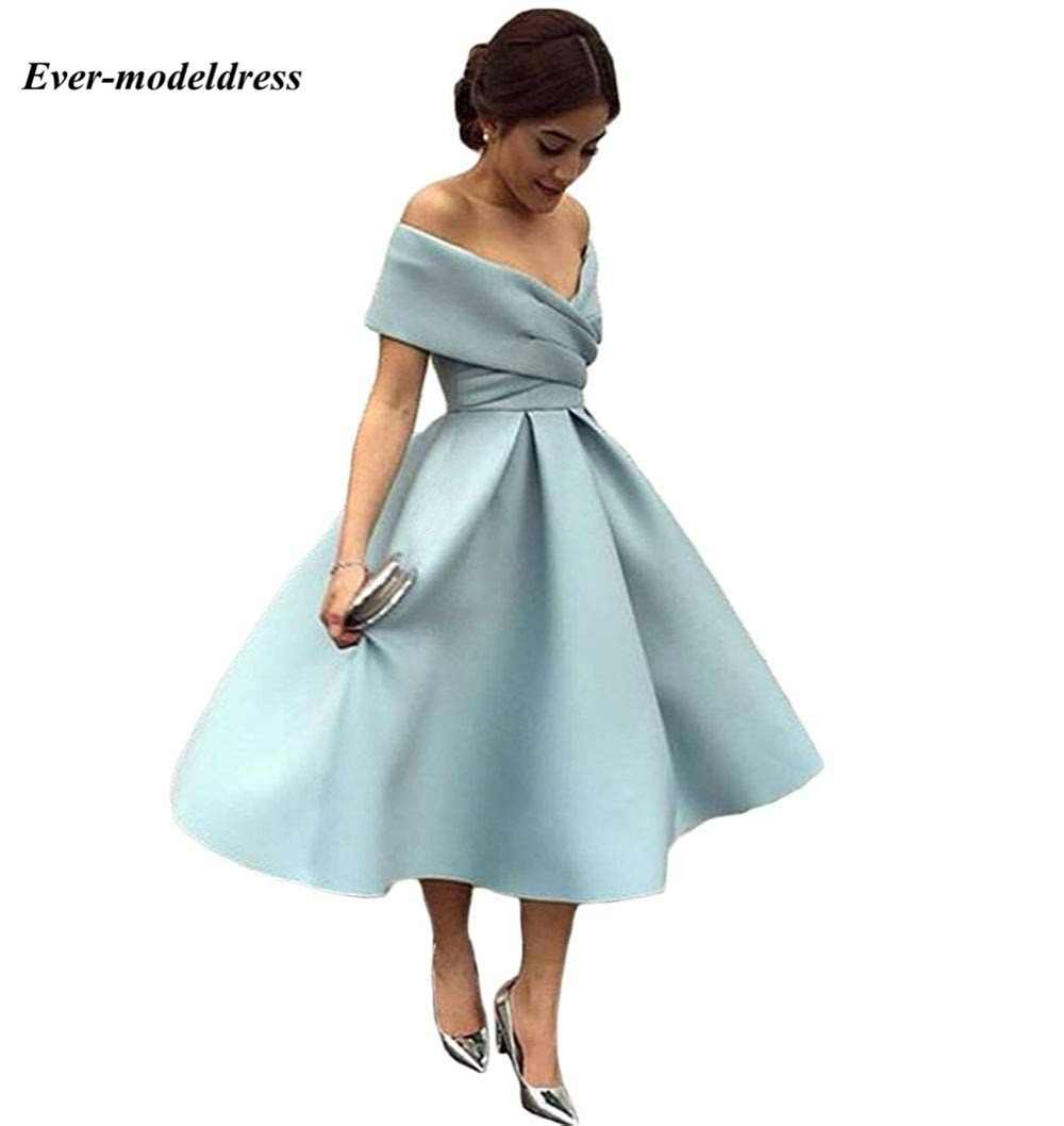 c59afcd039 ... Off Shoulder Tea Length Country Bridesmaid Dresses Open Back Pleats A  Line Satin Short Prom Party