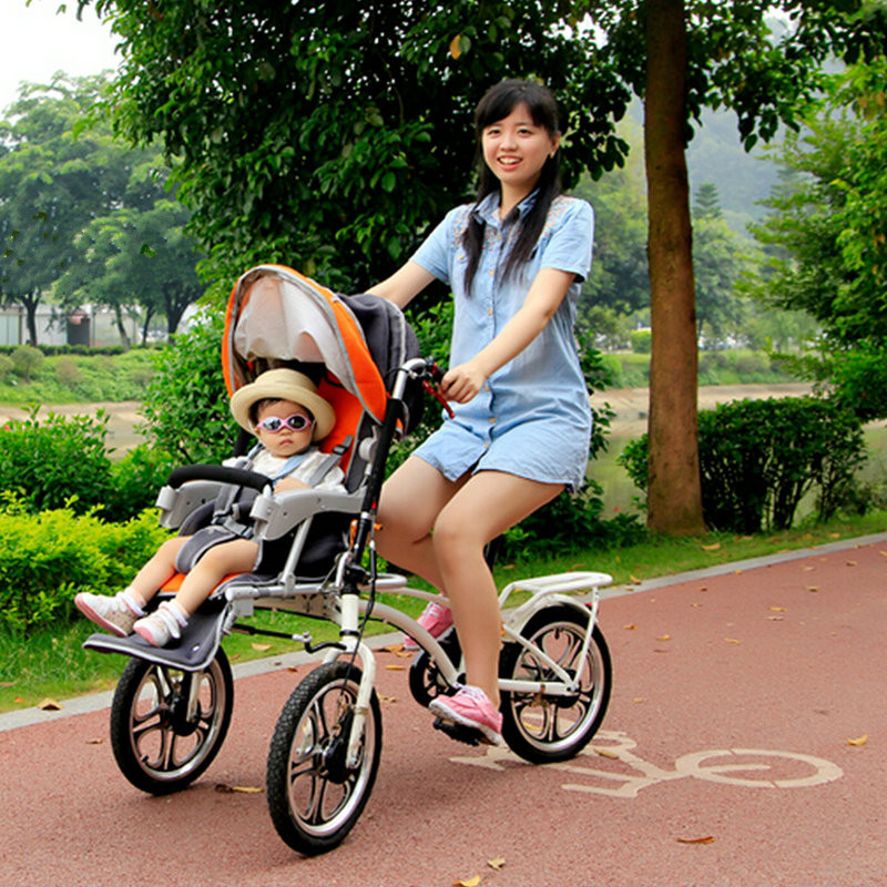 2 In 1 Bicycle Stroller/Shopping Cart With Mosquito Net And Rain Cover цена 2017