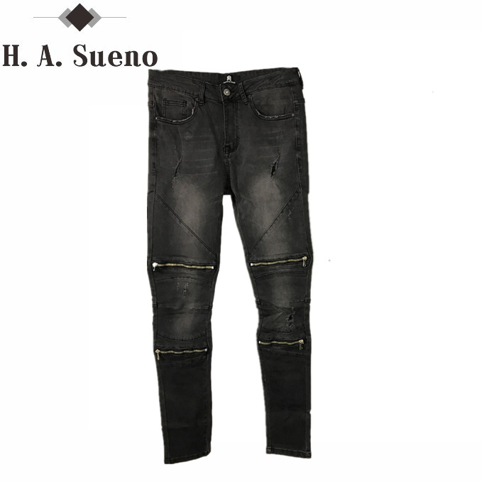 Top quality Skinny Fit black stretch men jeans knee with zipper hip hop Ripped Jeans streetwear urban style denim fashion pants