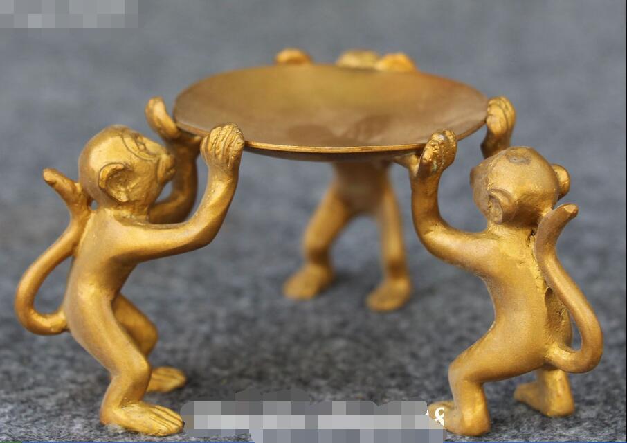 Chinese Fengshui Bronzo 3 Scimmia Scimmie Animali Posacenere Posacenere lampada Ad Olio StatuaChinese Fengshui Bronzo 3 Scimmia Scimmie Animali Posacenere Posacenere lampada Ad Olio Statua