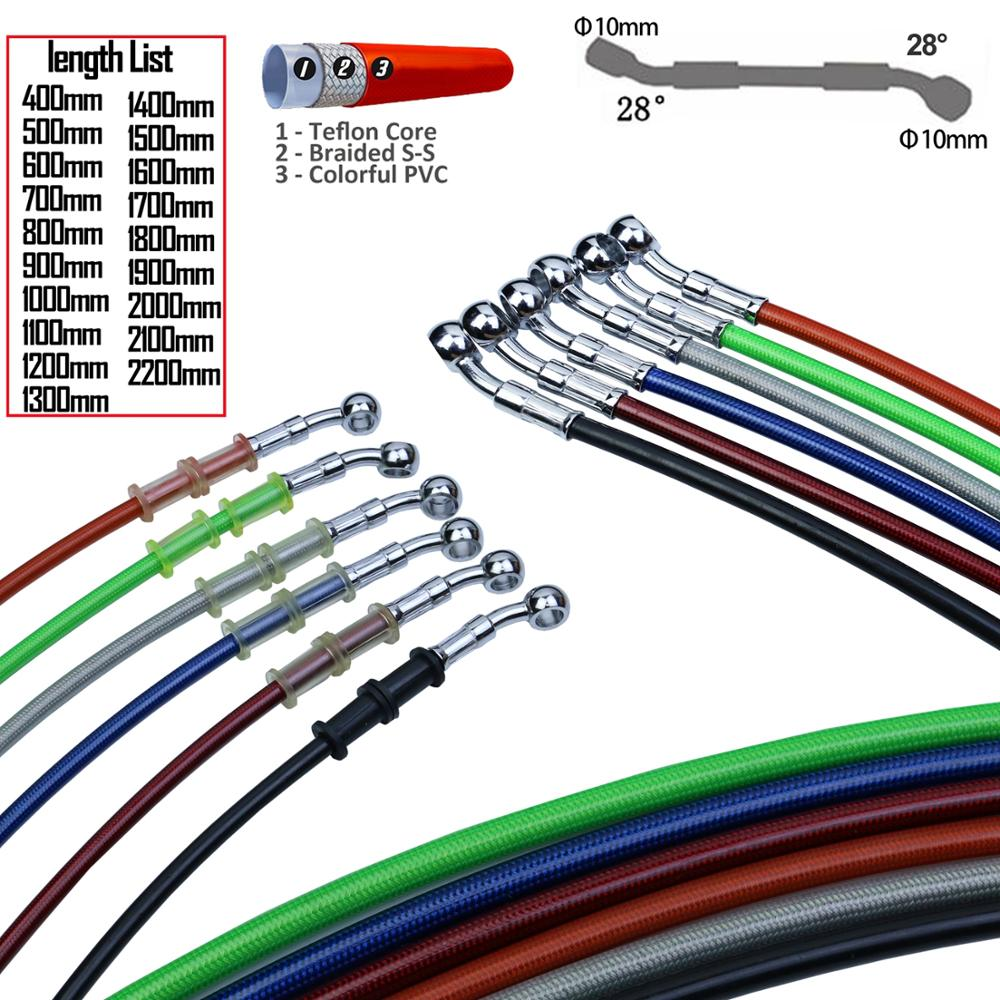400mm - 2200mm Motorcycle Hydraulic Brake Hose Line Cable 10mm Banjo for Suzuki Kawasaki Yamaha honda Pipe Line Braided oil hose(China)