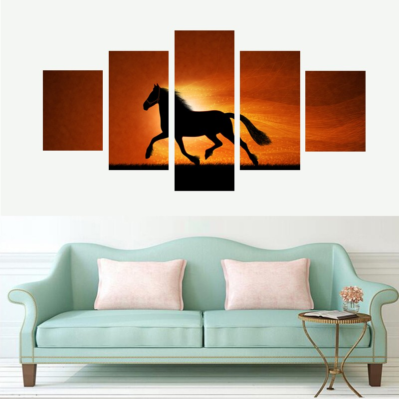 HD Print Canvas Painting Home Decor Picture Wall Art Prints Poster For Living Room 5 Panel Under The Sunset Of The Horse PENGDA