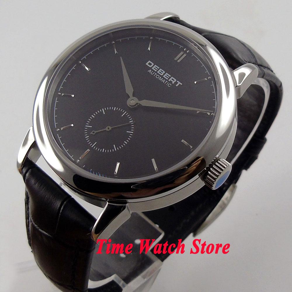 лучшая цена DEBERT simple 40mm black dial silver hands sapphire glass Automatic movement men's watch DE39