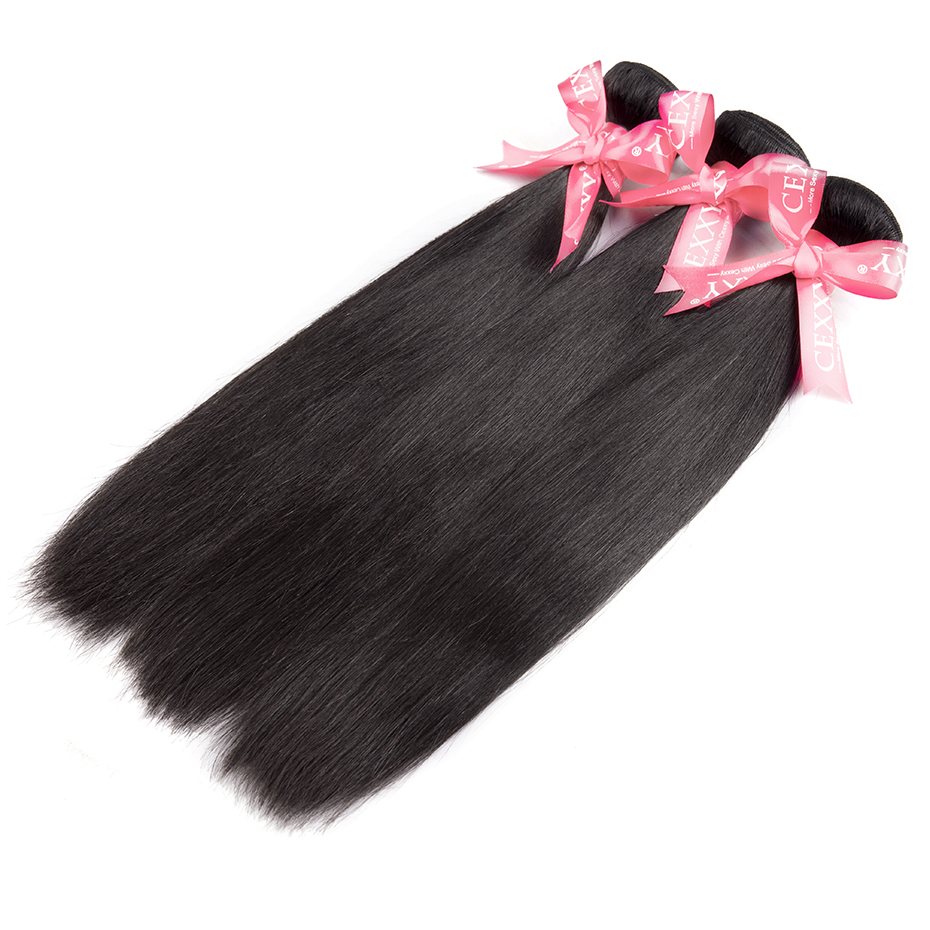 Cexxy Straight Bundles With Closure Brazilian Hair Weave Bundles With Closure Human Hair Extension Long Hair 8-34 36 38 40Inch