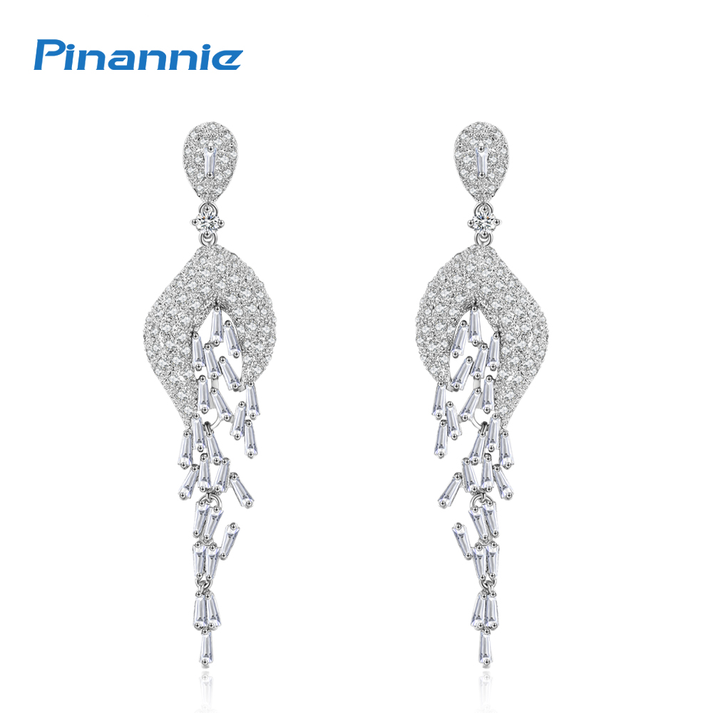 Pinannie Rhodium Plated Cubic Zircon Luxury Long Bridal Jewelry Earrings for Women