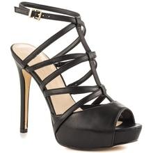Black Women Sandals T-straps With Platform Ladies Sandal High Heels Narrow Straps Summer Shoes Woman Sandals 2016 New Arrival