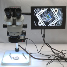 Wholesale Trinocular Stereo Microscope 3.5X-90X Continuous Zoom Magnification 16MP HDMI USB Microscope Camera LED Lights 10-inch Monitor
