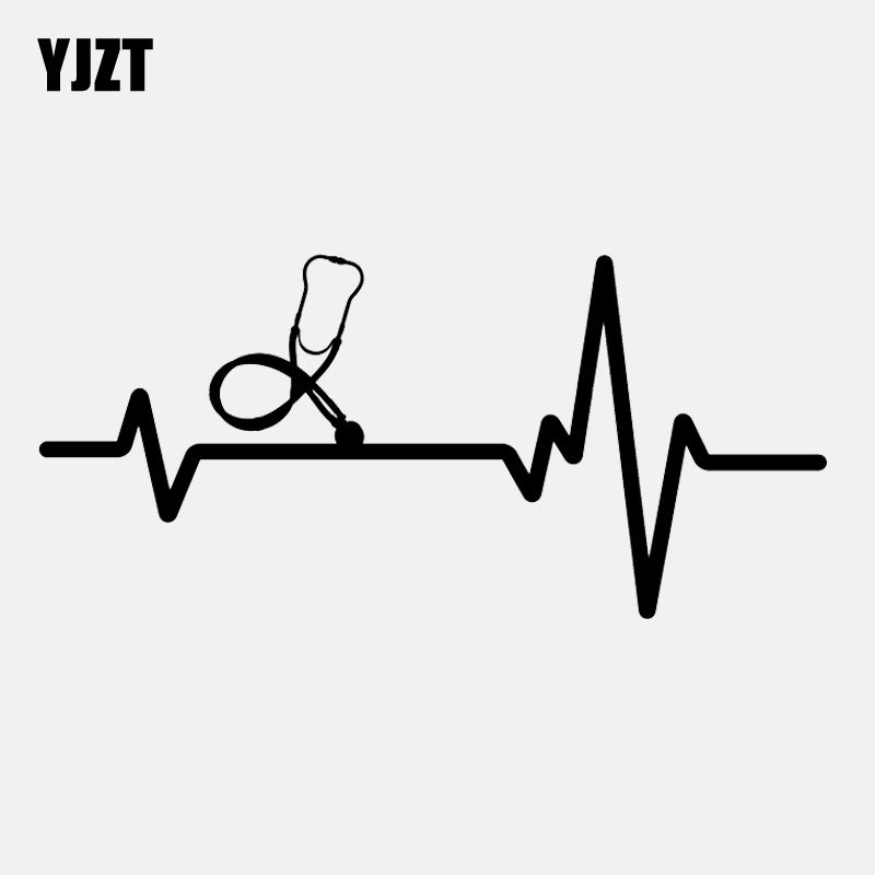 YJZT 14.6CM*6.7CM Stethoscope Scrubs Medical  Heartbeat Vinyl Black/Silver Car Sticker C22-1102