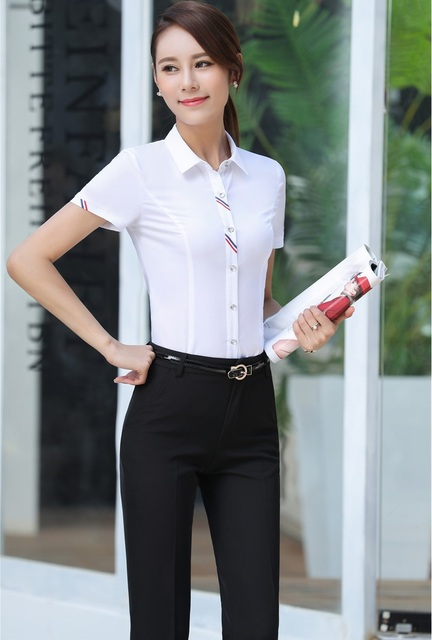 01a0e7b63b9 White Summer Short Sleeve Formal Professional Pantsuits With Tops And Pants  Ladies Work Wear Female Trousers